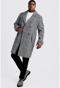Mens Grey Big & Tall Check Double Breasted Wool Mix Overcoat