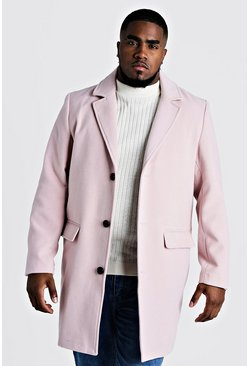 Herr Pink Big & Tall Single Breasted Wool Mix Overcoat