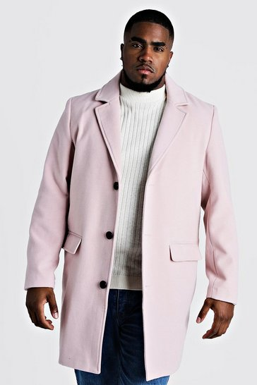 Mens Pink Big & Tall Single Breasted Wool Mix Overcoat