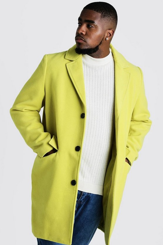 Lime Big & Tall Single Breasted Wool Mix Overcoat