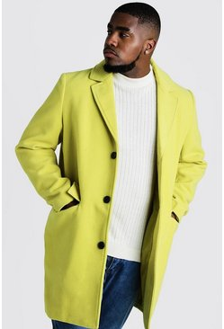 Mens Lime Big & Tall Single Breasted Wool Mix Overcoat
