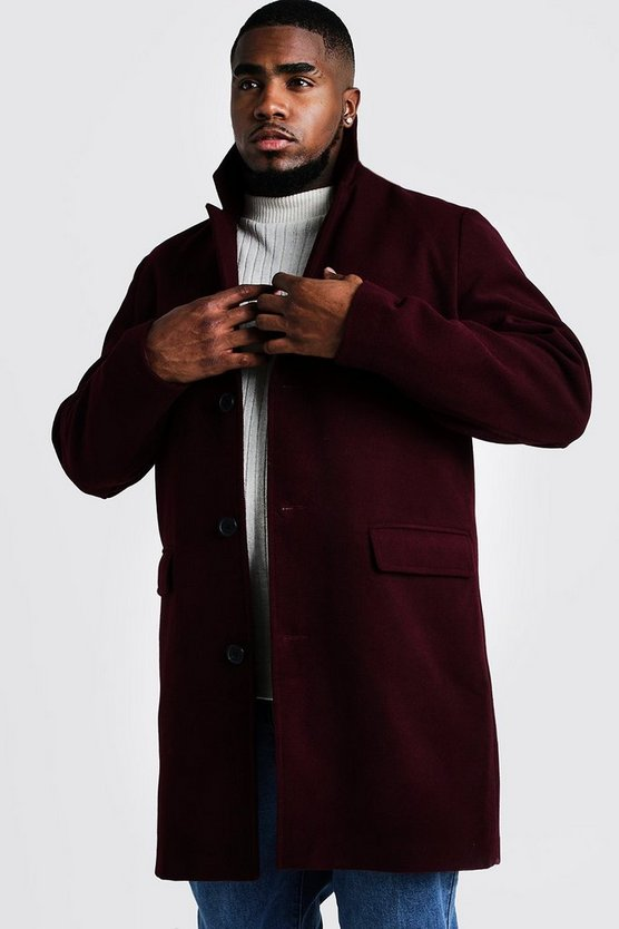 Oxblood Big & Tall Single Breasted Wool Mix Overcoat