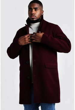 Mens Oxblood Big & Tall Single Breasted Wool Mix Overcoat