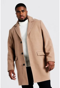 Herr Camel Big & Tall Single Breasted Wool Mix Overcoat
