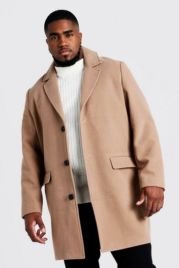 Mens Camel Big & Tall Single Breasted Wool Mix Overcoat