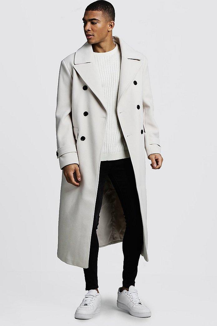 Longline Oversized Double Breasted Overcoat | boohooMAN UK