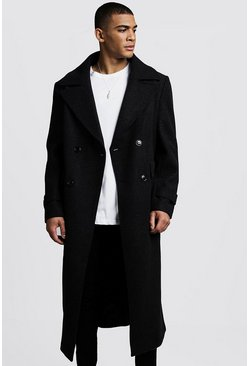 Mens Black Longline Oversized Double Breasted Overcoat