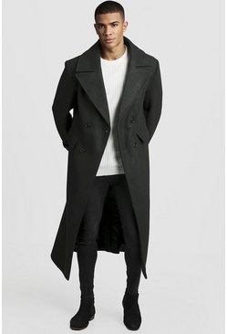 Mens Khaki Longline Oversized Double Breasted Overcoat