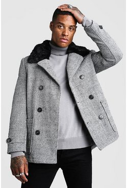 Grey Faux Fur Collar Wool Mix Pea Coat
