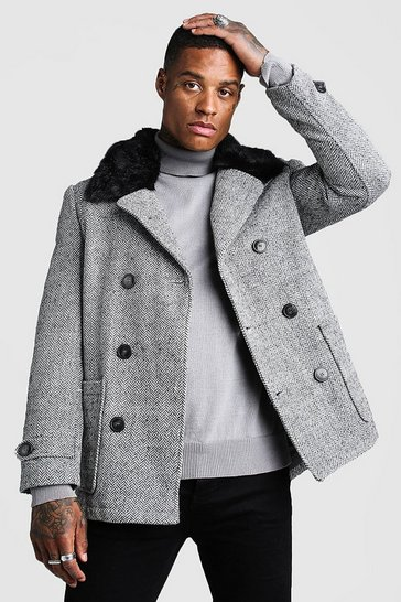 Mens Grey Faux Fur Collar Wool Mix Pea Coat