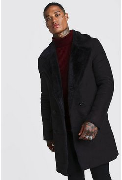 Mens Black Longline Faux Fur Double Breasted Overcoat