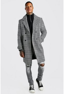 Check Double Breasted Wool Mix Overcoat, Black