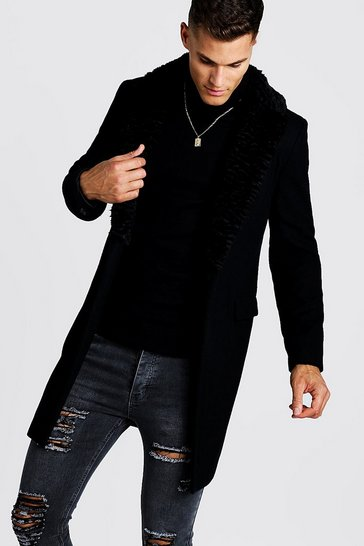 Mens Black Luxe Faux Fur Collared Wool Overcoat