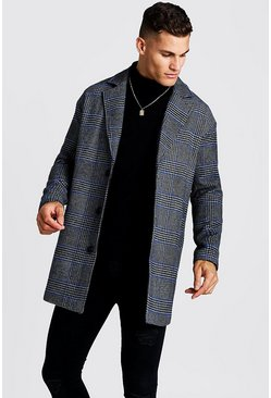 Prince Of Wales Check Wool Look Overcoat, Black, Uomo