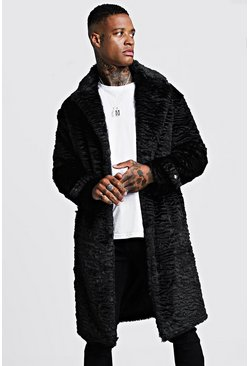 Mens Black Luxe Faux Fur Overcoat