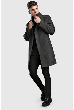 Mens Charcoal Funnel Neck Wool Look Overcoat