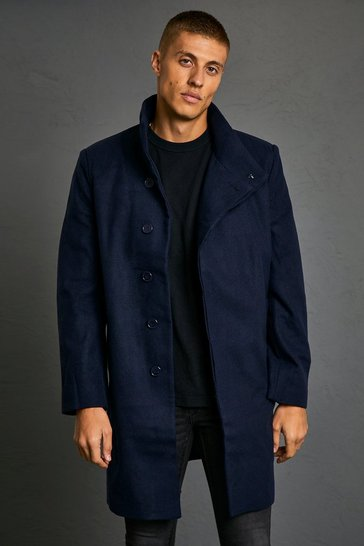 Navy Funnel Neck Wool Look Overcoat