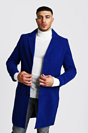 Mens Cobalt Single Breasted Wool Mix Overcoat