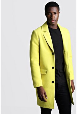 Mens Lime Single Breasted Wool Mix Overcoat
