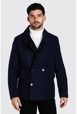 Classic Wool Look Pea Coat, Navy