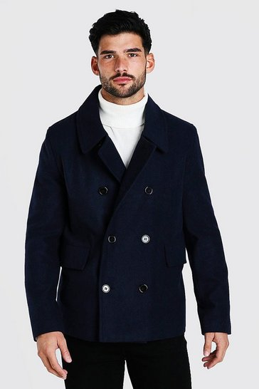 Navy Classic Wool Look Pea Coat