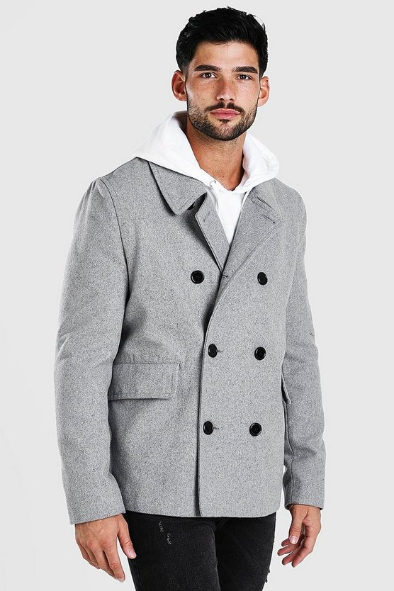 Grey Classic Wool Look Pea Coat