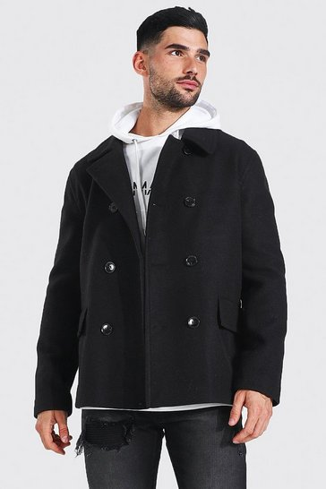 Mens Black Classic Wool Look Pea Coat