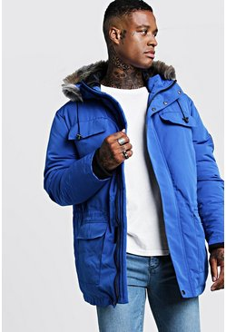 Cobalt Faux Fur Hooded Arctic Parka