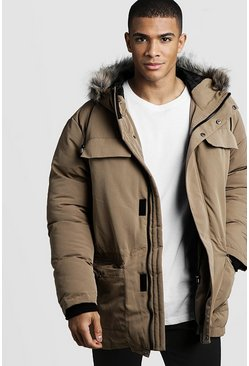 Taupe Faux Fur Hooded Arctic Parka