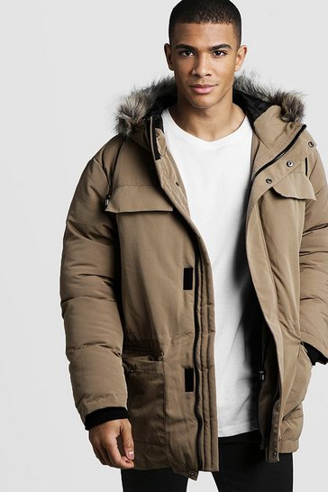 Mens Taupe Faux Fur Hooded Arctic Parka