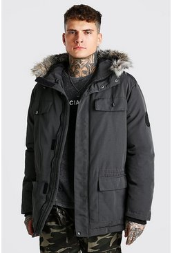 Mens Charcoal Faux Fur Hooded Arctic Parka
