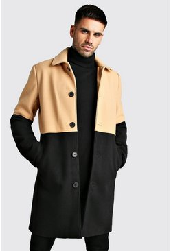 Mens Camel Wool Look Colour Block Overcoat
