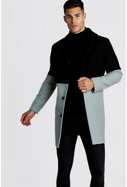 Wool Look Colour Block Overcoat, Black