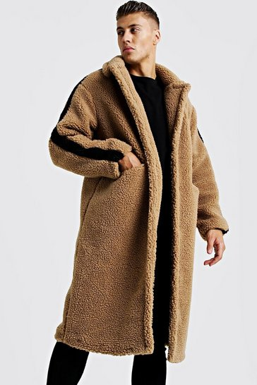 Mens Camel Longline Borg Over Coat With Stripe