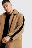 Mens Camel Longline Borg Over Coat With Stripe alternative image