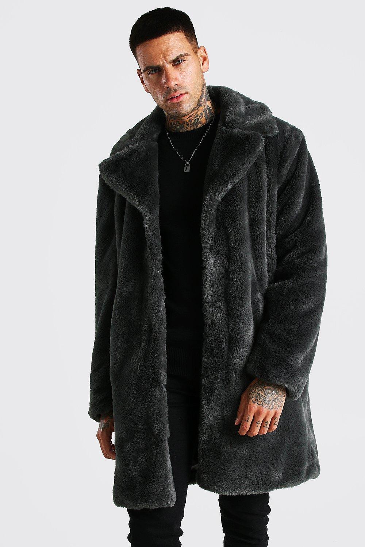 Mens Faux Fur Overcoat