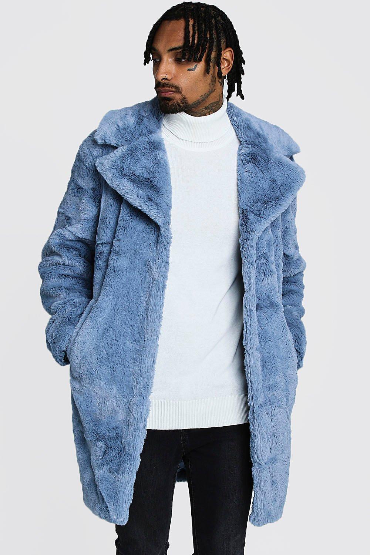 Mens Powder blue Faux Fur Overcoat