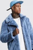 Mens Powder blue Faux Fur Overcoat alternative image