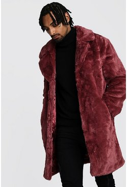 Mens Pink Faux Fur Overcoat