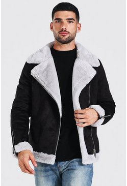 Faux Fur Lined Suede Aviator, Black, Uomo