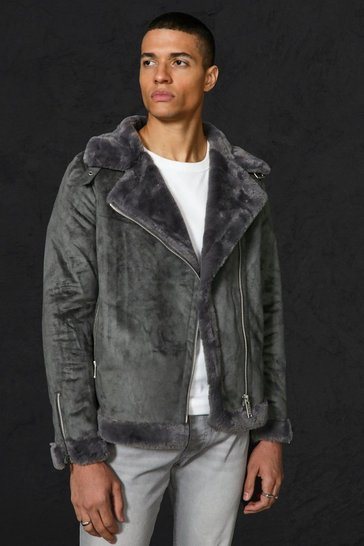 Mens Charcoal Faux Fur Lines Suede Aviator
