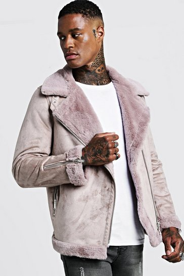 Mens Pink Faux Fur Lined Suede Aviator