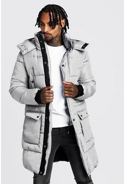 Hand Filled Longline Artic Puffer, Grey