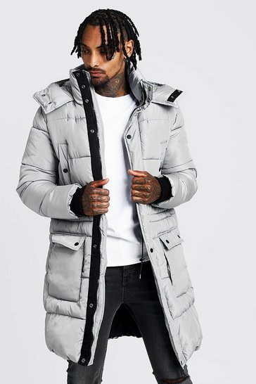 Mens Grey Hand Filled Longline Artic Puffer