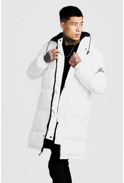 Mens White Filled Reversible Longline Puffer