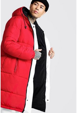Filled Reversible Longline Puffer, Red, Uomo