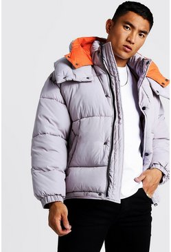 Mens Grey Oversized Hood Contrast Lining Puffer