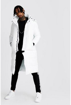 Mens White Longline 2 In 1 Zip Off Puffer