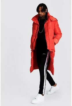 Burnt orange Longline 2 in 1 Zip Off Puffer