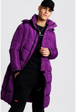 Mens Purple Longline 2 in 1 Zip Off Puffer
